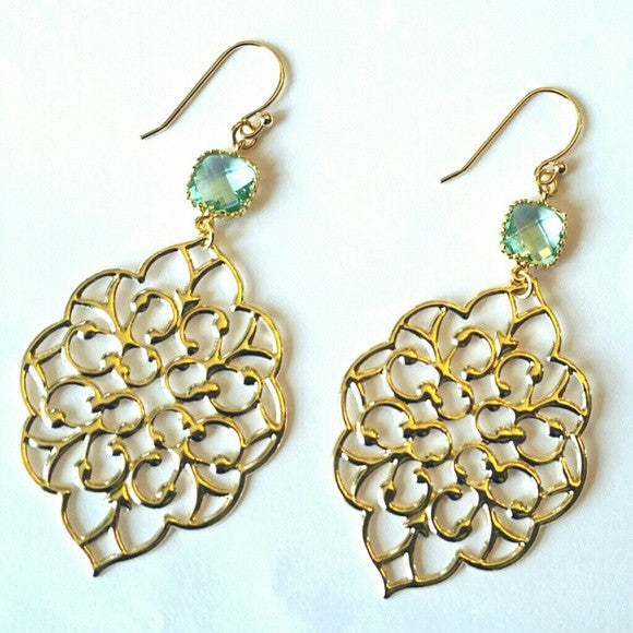 Gold Bohemian Erinite Chandelier Earrings