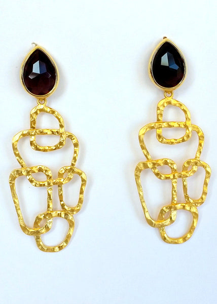Modern hammered gold Garnet Glass Earrings