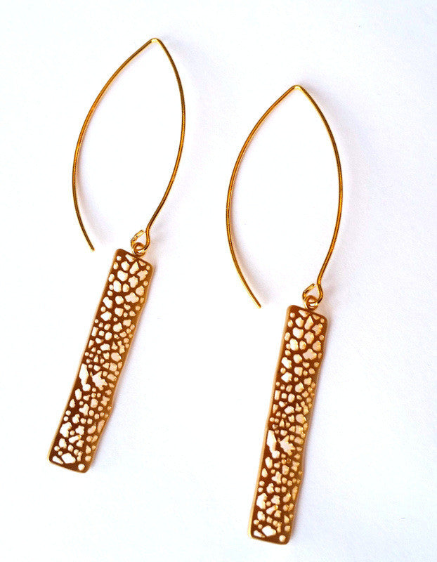 Matte Gold Bohemian Dangle Earrings