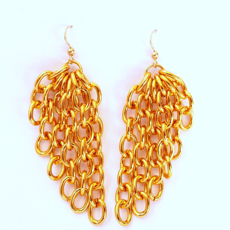 ANGEL WINGS Asymmetric Cable Gold Chain Earrings