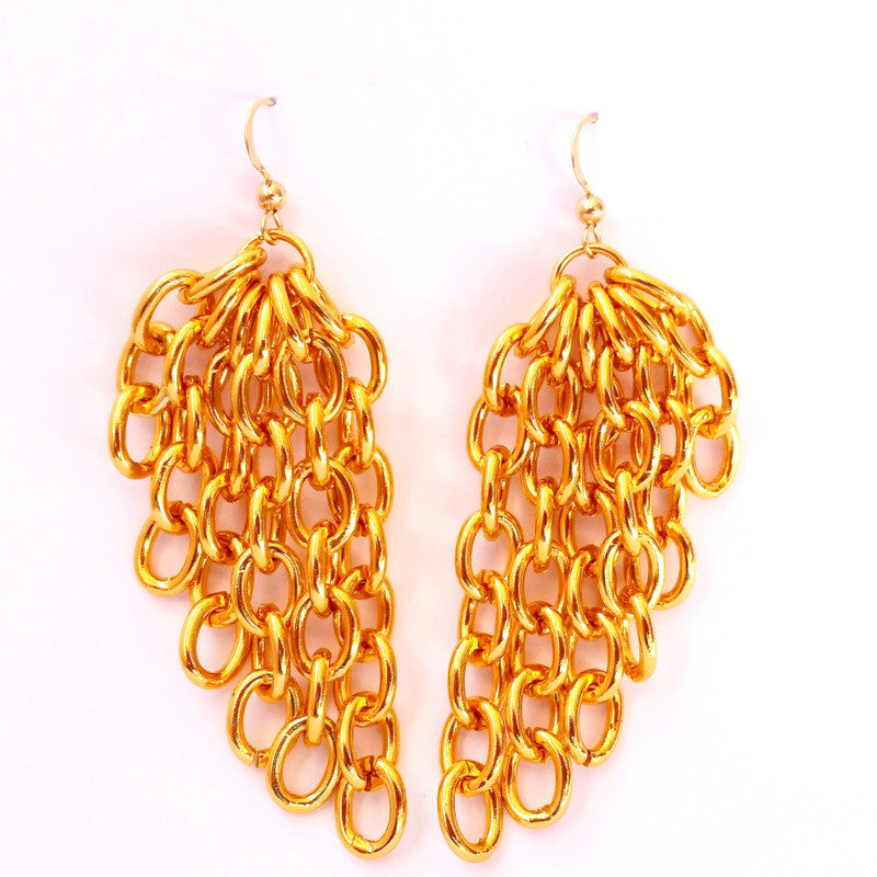 ANGEL WINGS Gold Chain Earrings