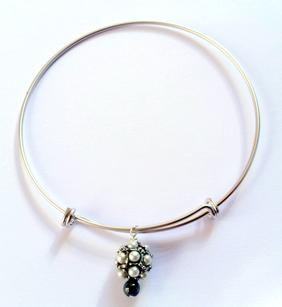 Silver Pearl Charm Bangle