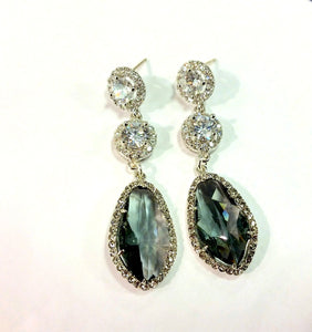 Black Diamond and CZ Statement Earrings