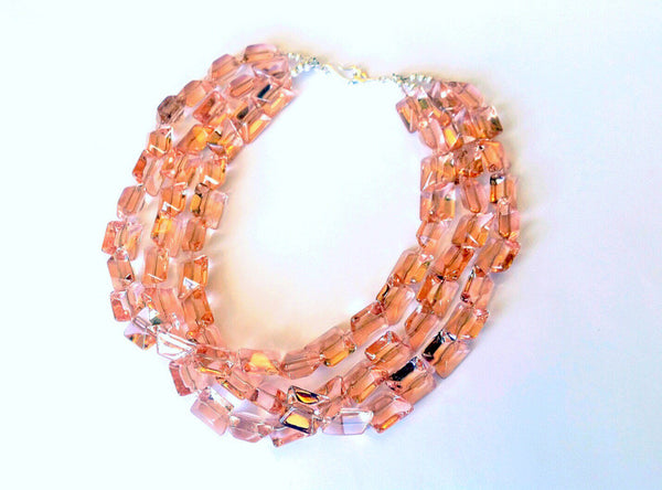 Light Pink Crystal beaded Collar Necklace