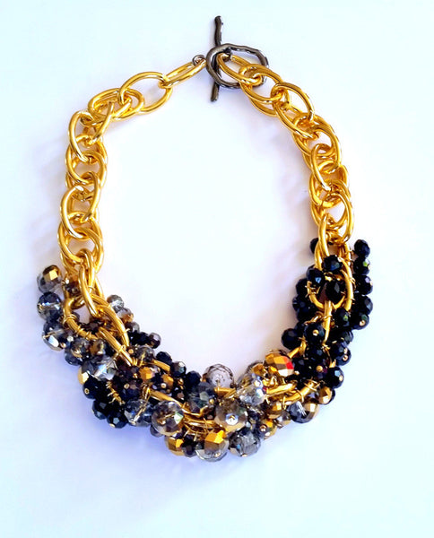 Gold Plated Cable Chain Swarovski Crystal Necklace