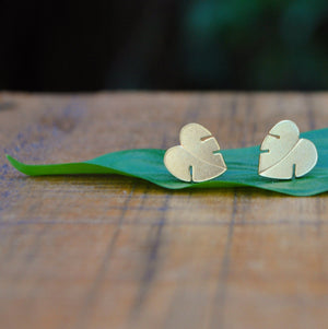 Open image in slideshow, Little Monstera Leaf Studs