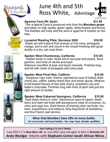 Tasting Notes for Wine at Nautical Wheelers June 4th and 5th