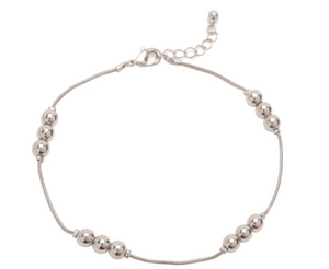 Silver Triple Bead Anklet