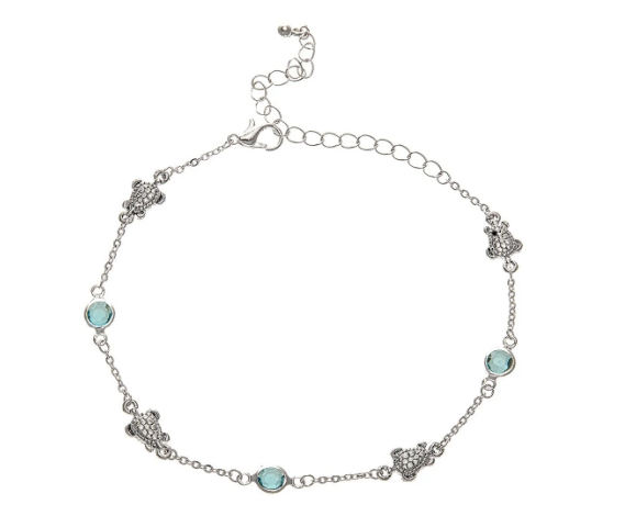 Silver Blue Gem Turtle Anklet