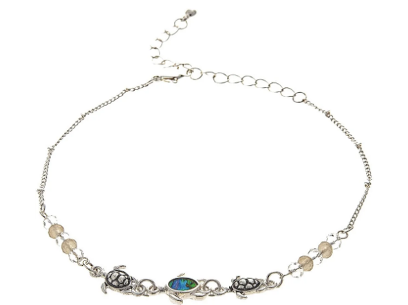Silver Abalone Turtle Anklet