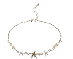 Silver Abalone Starfish Anklet