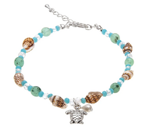 Silver Shell Blue Bead Turtle Anklet