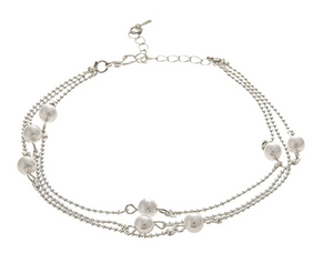 Silver Ball Faux Pearl Anklet