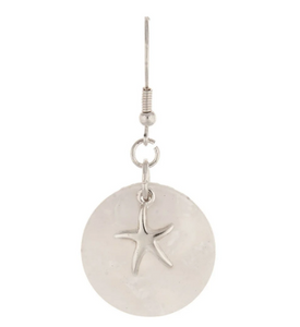 Silver White Starfish Earring