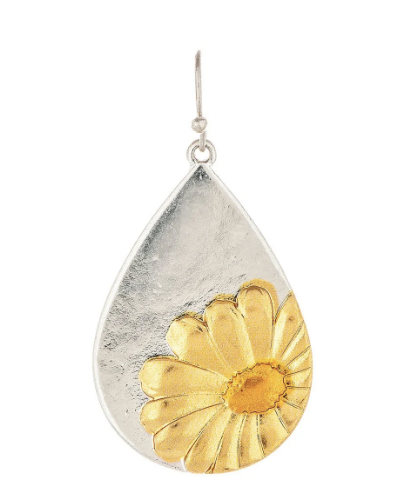 Two Tone Daisy Teardrop Earring