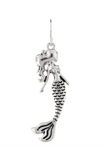 Silver Flowing Hair Mermaid Earring
