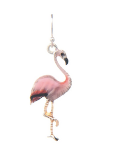 Silver Pink Flamingo Earring