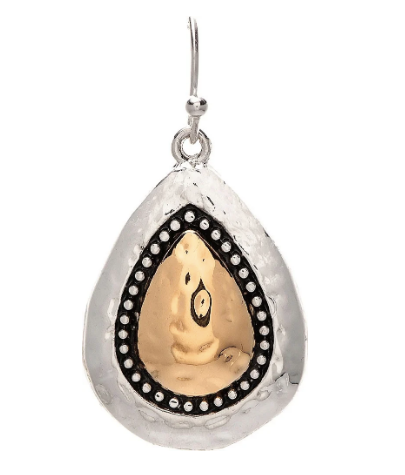 Two Tone Granulated Teardrop Earring
