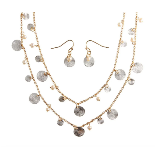 Two Tone Disc Pearl Chain Necklace