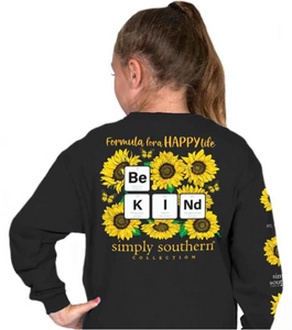 Long sleeve Simply Southern KindSun Youth tee shirt
