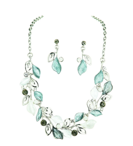 Silver Frosted Leaves Necklace