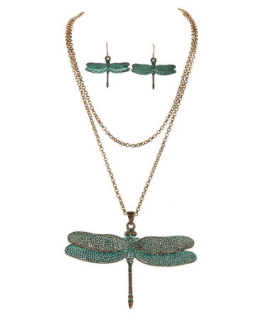 Patina Large Dragonfly Necklace