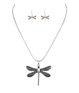 Swirl Wing Dragonfly Necklace