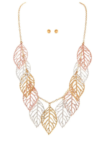 Multi Metal Leaves Necklace