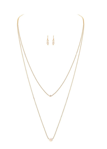 Gold Two Pearl Necklace