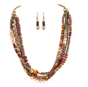 Gold Pink Red Mix Bead Necklace