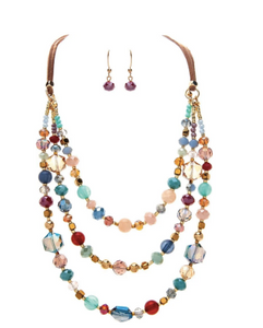 Gold 3 Layer Multi Bead Necklace