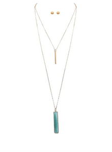 Gold Layered Green Mint Necklace