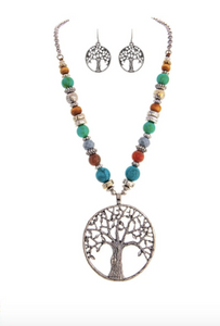 Silver Multi Bead Tree Pendant