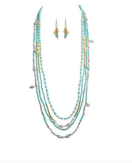 Silver Turquoise Beaded Long Necklace