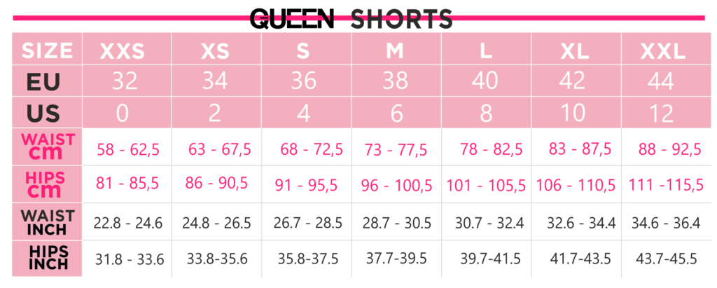 Queen Size Chart - Shorts