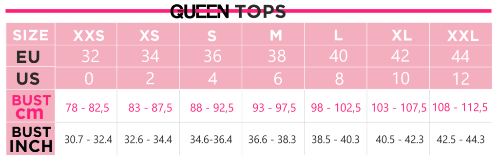 Queen Size Chart - Tops