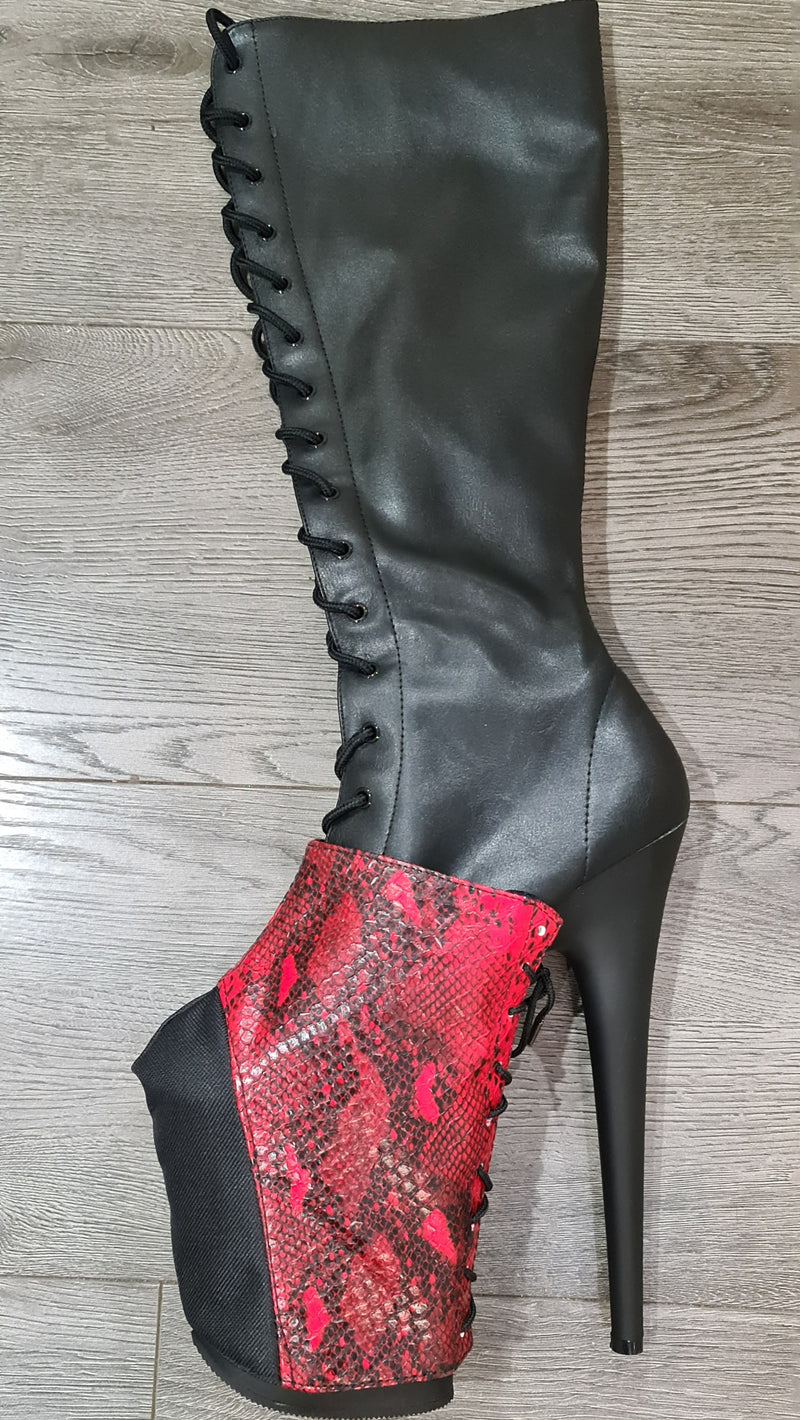 Z PLANET Platform Protectors - Red Snake Eco Leather with Laces