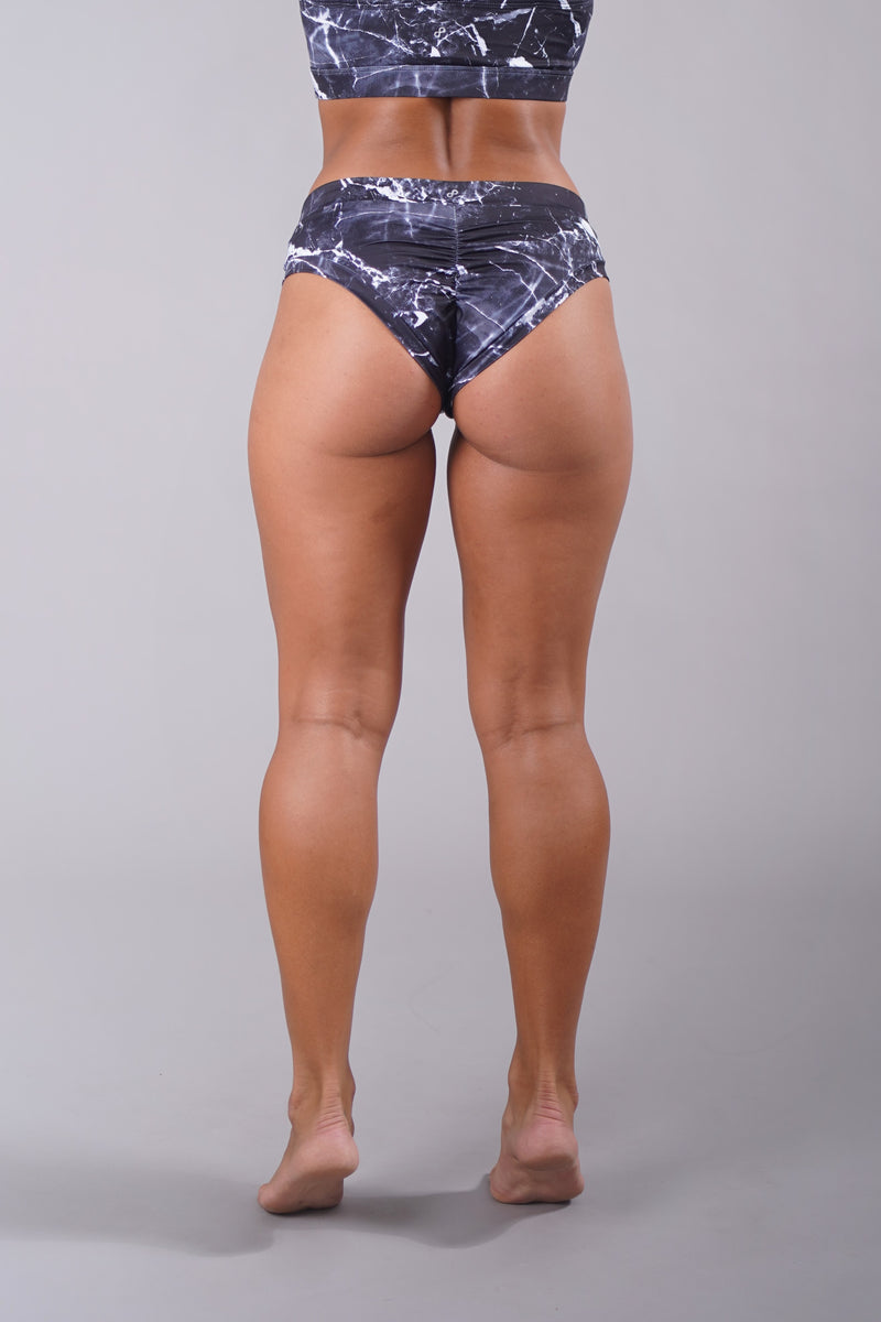 OFF THE POLE Classic Scrunch Shorts - Black Marble