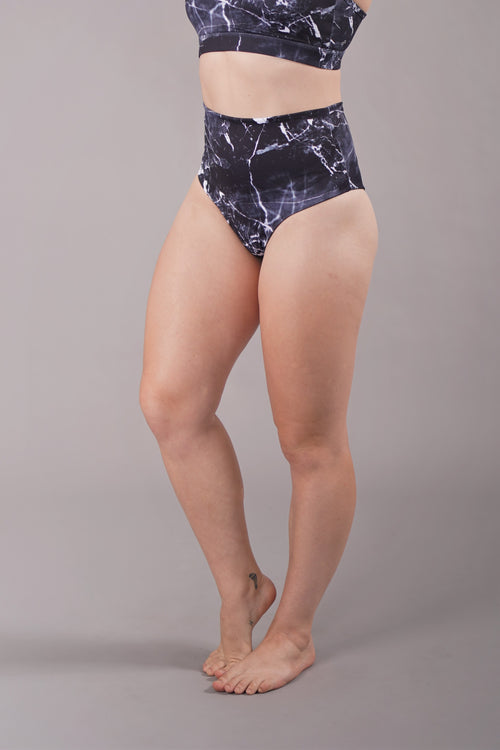 OFF THE POLE High Waisted Scrunch Shorts - Black Marble