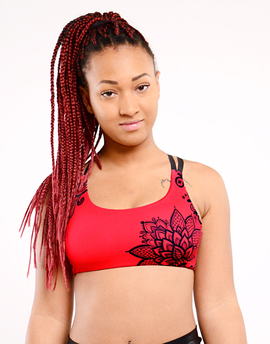 BOOMKATS Cupid Top - Cherry Black Lace