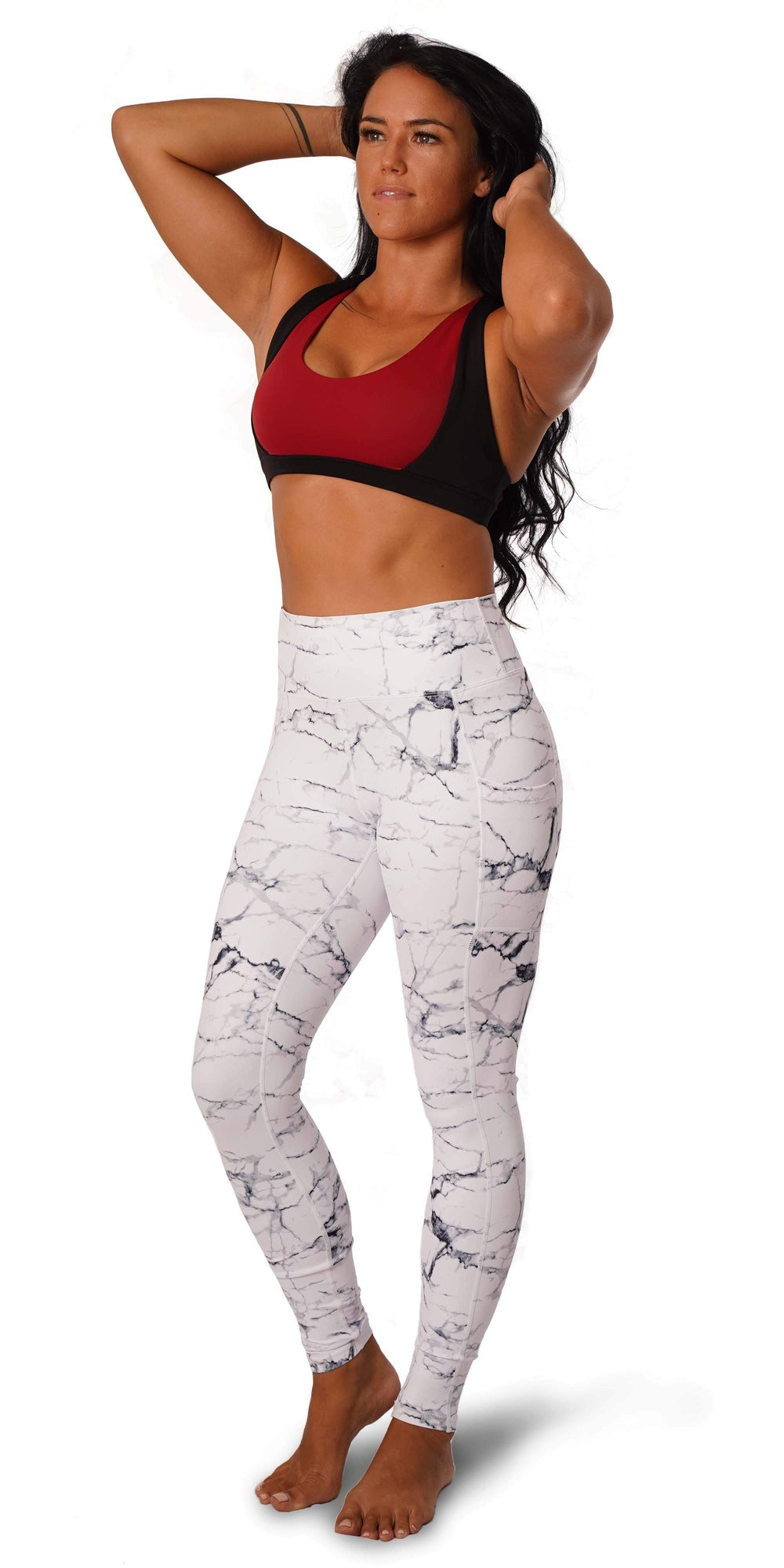 OFF THE POLE Iconic Leggings - White Marble