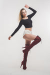 Z PLANET Thigh High Bootsleeves - Burgundy Faux Suede