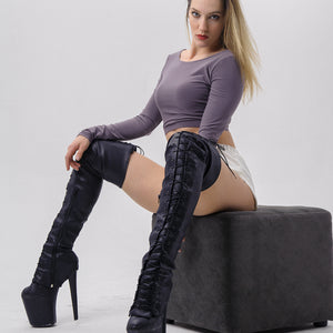 Z PLANET Thigh High Bootsleeves - Black Leather