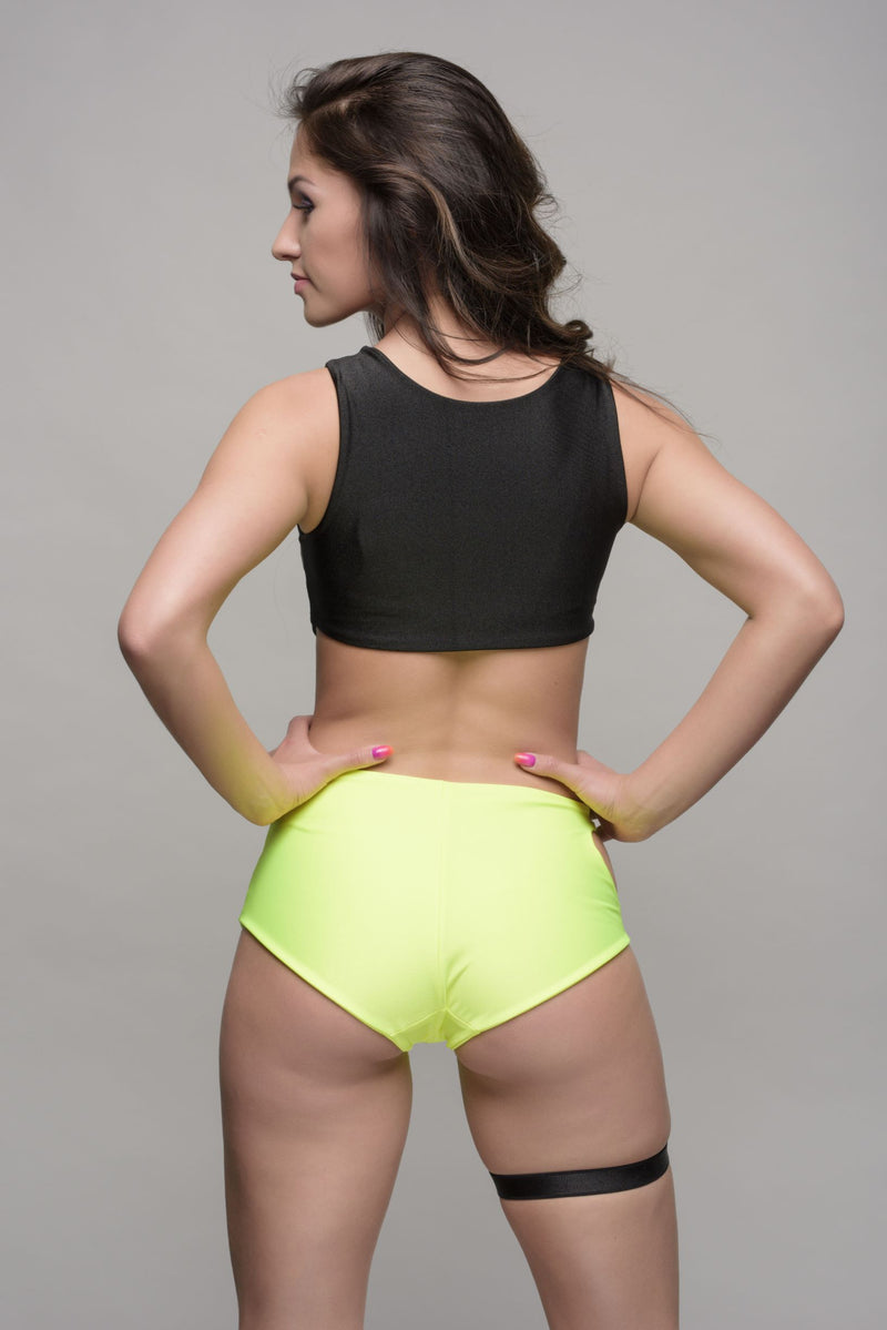 CARO LINE Neon High Waisted Shorts - Lime