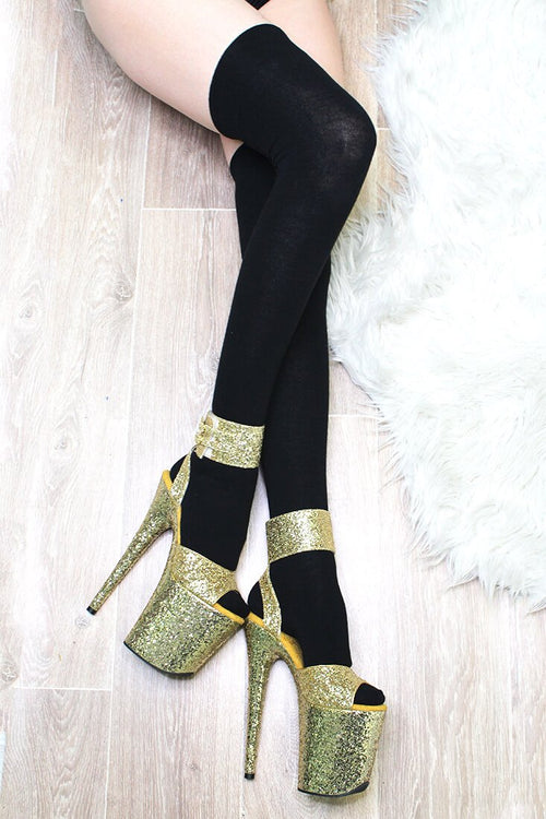 LUNALAE Thigh High Socks - Black