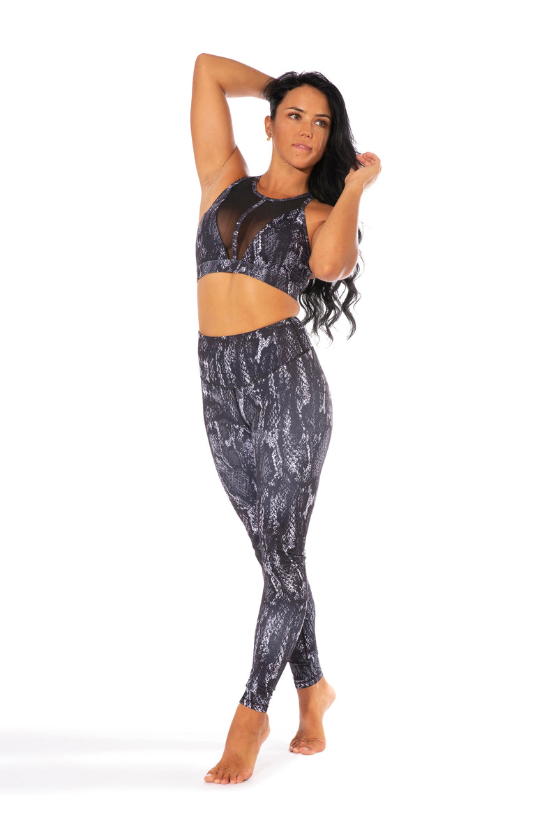 OFF THE POLE Mesh Sports Bra - Smokey Black Snake Print