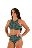 OFF THE POLE Lifestyle Sports Bra - Emerald Green Snake Print