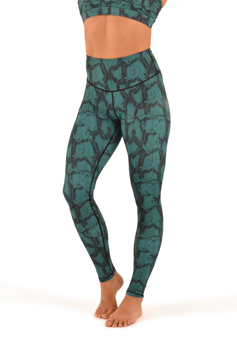 OFF THE POLE Lifestyle Leggings - Emerald Green Snake Print