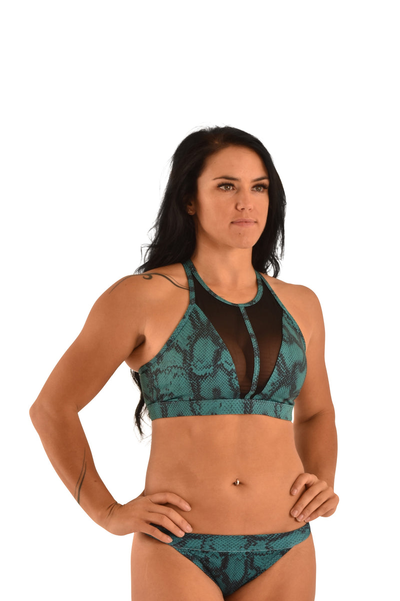 OFF THE POLE Mesh Sports Bra - Emerald Green Snake Print