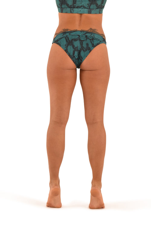 OFF THE POLE Tanga Shorts - Emerald Green Snake Print